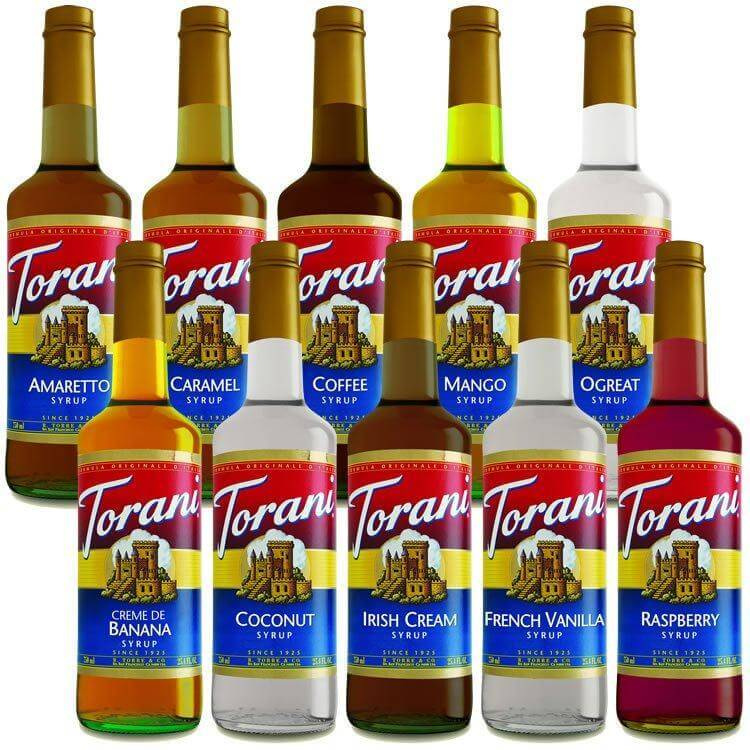 Selection of Torani Syrup flavors